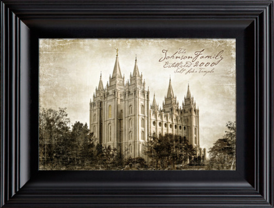 Personalized Vintage Salt Lake Temple (19x25 Framed Art)