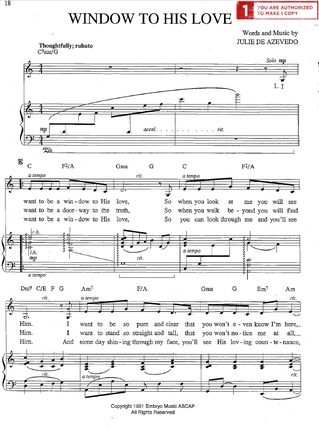 Window to His Love (Sheet Music Download)