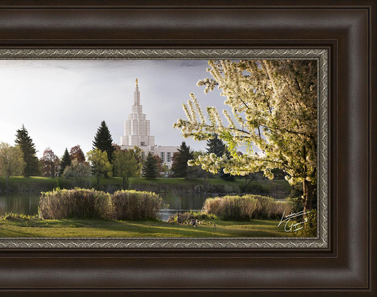 Idaho Falls Temple, The Daydawn is Breaking (18x47 Framed Art)
