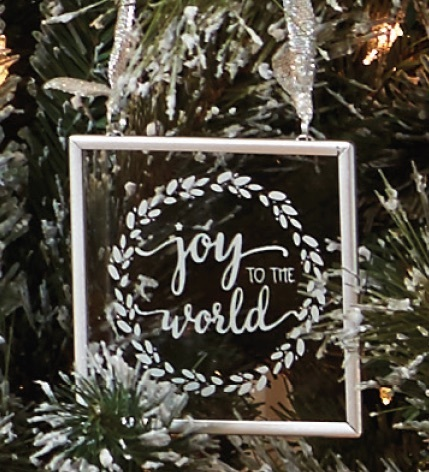 Joy to the world ornament silver
