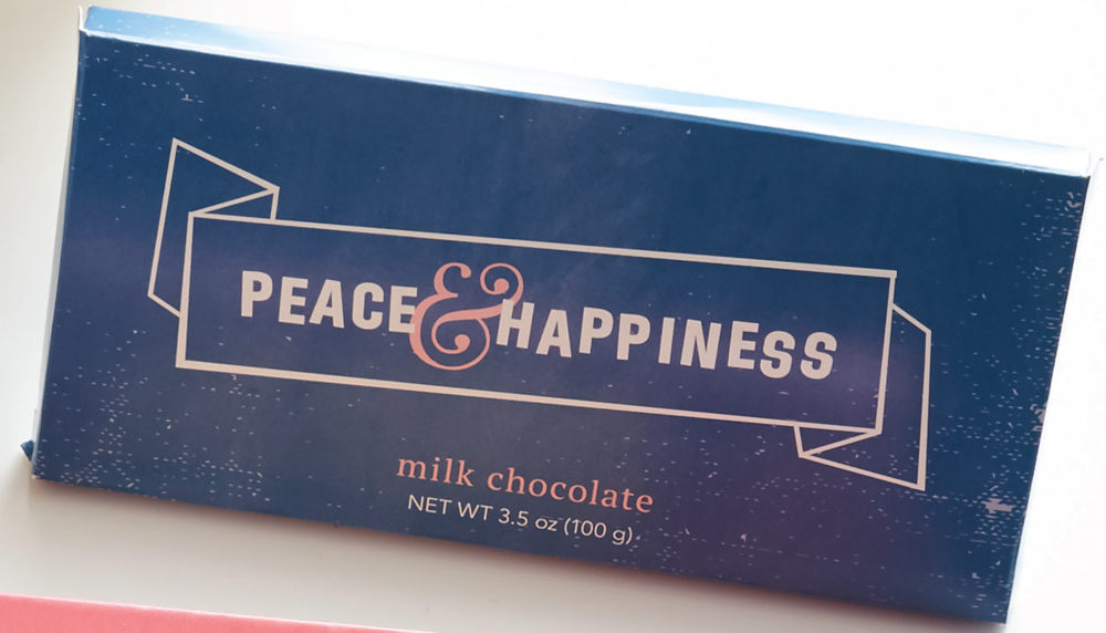 Peace   happiness chocolate bar