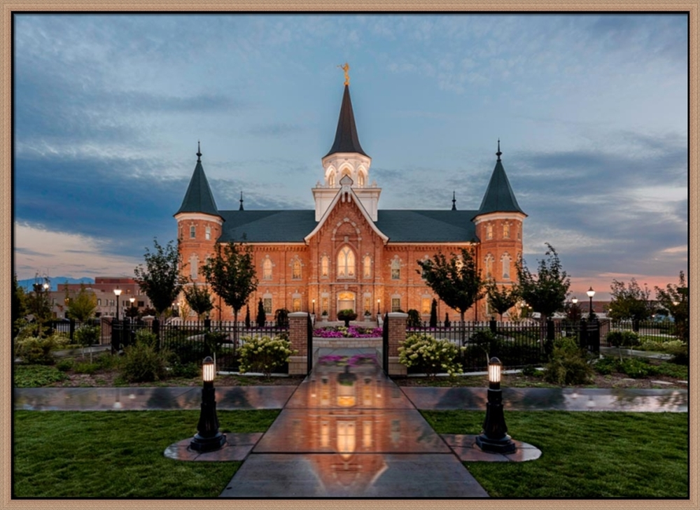 Covenant Path Temple: Provo City Center Temple (30x41 Framed Canvas Giclee)
